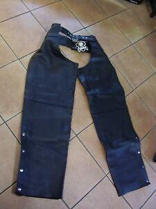 Chaps biker moto custom rock equitazione vera pelle vitello nero copri pantaloni