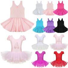 Girls Ballet Dance Tutu Dress Kid Gymnastic Bodysuit Cap Sleeve Ballerina Outfit