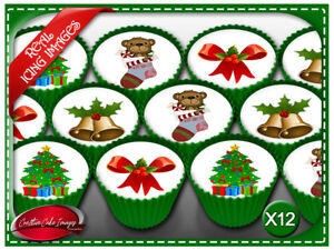 12 Merry Christmas Xmas Theme Deco Edible Icing Image Cupcake Party Toppers
