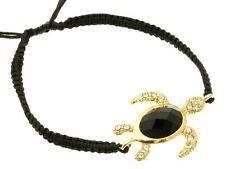 Gold Plated Crystal Sea Turtle Bracelet Jeweled Nautical Shamballa Black Rope