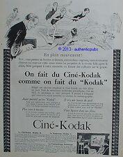 PUBLICITE CINE KODAK CAMERA KODASCOPE A LA PLAGE MER CHIEN DE 1926 FRENCH AD PUB