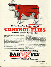 1964 Print Ad of Interstate Chemical Company BAR FLY Cow With Hat