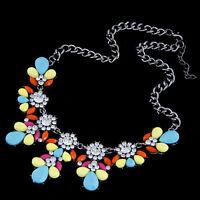 Pink Yellow Blue Rainbow Multi Flower Diamante Statement  Bib Collar Necklace