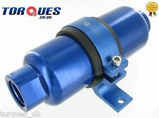 AN -12 (JIC -12 ORB-12) Blue Anodised Billet Fuel Filter 30 Micron And Cradle
