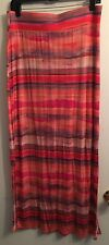 ANA A NEW APPROACH SZ M Coral Pink Multicolor Stretch  LONG KNIT STRIPED Skirt