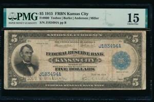 AC Fr 800 1915 $5 FRBN Kansas City PMG 15