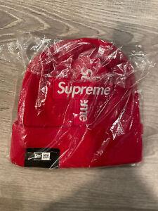 Supreme NEW ERA Cross Box Logo Beanie (RED) AUTHENTIC BRAND NEW