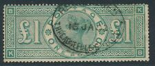 SG 212 £1 Green Good to  fine used with a registered Oval. Faint vertical crease