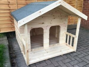 Wooden Dog Kennel Apex Double Door With Veranda Weather Proof Shelter Outdoor