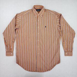 Ralph Lauren Men's Size XL Orange Stripes Cotton Blake Button Down Dress Shirt