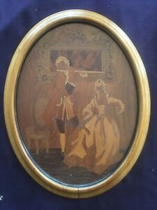 Vintage Oval Inlaid Marquetry Wood Plaque Wall Hanging Picture Minstrel