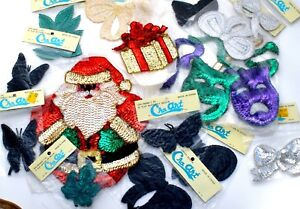 Vintage Sequin Lot of Appliques Santa Claus Butterfly Christmas Comedy & Tragedy