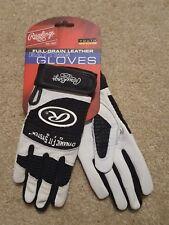RAWLINGS YOUTH Medium FULL GRAIN Pair Batting Gloves -Black/White