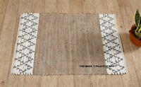 Indian Handmade Woven Chindi Rug Bohemian Cotton Classic Floor Area Mat Carpet