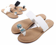 White nn New Flip Flops Casual Sexy Rhinestone Womens Sandals Shoes Size 7.5