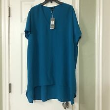 2X $258 NEW EILEEN FISHER JEWEL SILK  CREPE de CHINE U-NK CAP SLEEVE HI/LO TUNIC