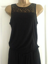 BNWT NEXT Black Maxi Dress with Lace at Shoulders Side Split Size 8