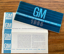 Vintage General Motors GM 1965 Brochure + Price List Chevy Olds Buick Cadillac