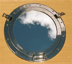"""Brass Porthole Mirror 20""""w/Nickel Finish"""
