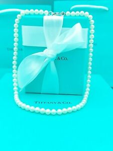 "Tiffany & Co Ziegfeld Bead Pearl Necklace 16"" Great Condition. Retail £645"