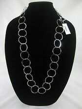 "Fabulous Brand New 33"" Long Silver Hoop Necklace from Banana Republic #N2488"