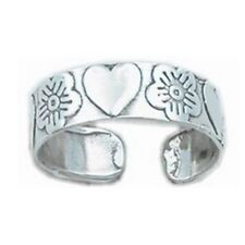 Finger Midi Orchid Flowers and Hearts 925 Sterling Silver Ring for Toe Little