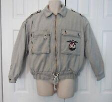 Vintage Zapp Black Acid Wash Denim Lined Bomber Jacket Late 80s M