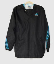 ADIDAS LINED NYLON WINDBREAKER PULLOVER XL BLACK W ELECTRIC BLUE ACCENTS