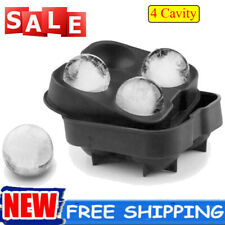 Large 4 Ball Tray Ice Cube Maker DIY Silicone Mould Sphere Whiskey Round Mold