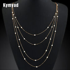 2018 Simulated Pearl Multi layer Necklace Gold Long Chain Vintage Colares Neck