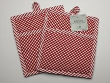 Set of 2 Red and White Check Quilted Cotton Pocket Pot Holders