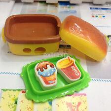New 2 Hole Simulation Hamburger Pencil Sharpener With 2 Rubber Eraser Kid Toy UK