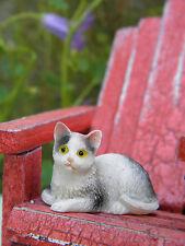 Miniature Dollhouse FAIRY GARDEN Accessories ~ Small Black & White Cat ~ NEW