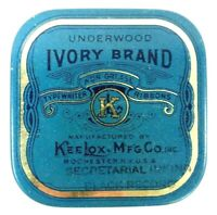 Vintage Ivory Brand KeeLox Manufacturing Typewriter Ink Empty Tin Box