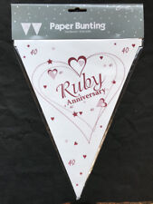 Ruby Wedding Party Bunting 40th Wedding Anniversary Flag Banner Decoration