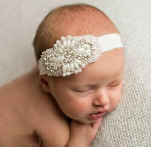 Baptism Headband Flower Girl Headband Newborn Photo Props Crystal Headband