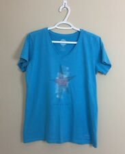 "Life Is Good Women's V-Neck Short Sleeve Tee Blue Size M ""Spread Good Vibes"""