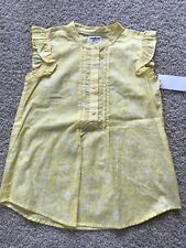 OshKosh Girls Yellow Floral Embellished Cap Sleeve Shirt...