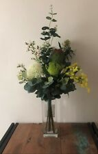 Artificial Silk Flower Protea Wattle Skimmia Fake Australian Native Bouquet 55cm
