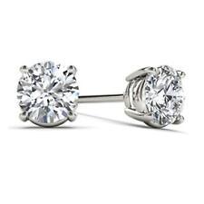14Kt Oro Blanco 3/8 CT Diamante Natural Genuino Aretes redonda