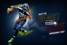 NFL Seattle Seahawks Superbowl XLVIII Marshawn Lynch #Beast Mode Poster Banner
