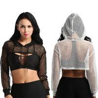 Women's Fishnet See Through Sheer Mesh Long Sleeve Hoodie Crop Top Hooded Shirts