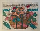 Margaret Albritton's tropical original watercolor, gold leaf pen & ink art proof