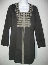 Cabi womens 4 Long Black Asina Inspired Tunic Jacket Gray Bead Work