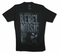Bob Marley Rebel Music Distressed Black T Shirt New Official Adult Reggae