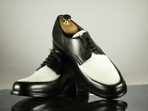 Stylish Handmade Men's Black & White Leather Round Toe Lace Up Shoes, Men Shoes