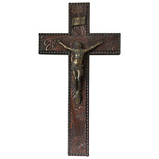 Antique Victorian Carved Gilt Silver Crucifix Jesus Christ Lord Wall Plaque