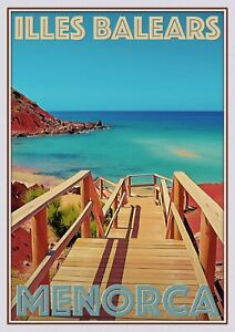 Art Deco Travel Posters Lovely  Retro Holiday Tourism Menorca Illes Balears