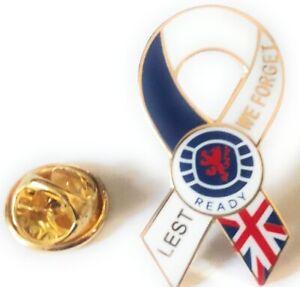 rangers ready lest we forget union jack flag  lapel pin  badge Scotland