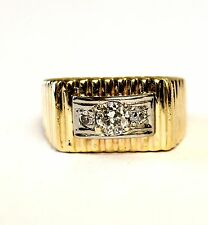 14k yellow gold .68ct SI3 H diamond cluster mens gents ring band 8.4g vintage